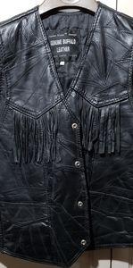 Leather Motorcycle Vest Fringed Tassel Biker
